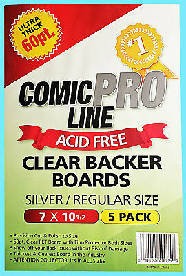5 COMIC PRO LINE Crystal CLEAR SILVER / REGULAR SIZE 60pt BACKER BOARDS Backing