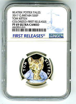 2017 Great Britain Silver Proof 50P Ngc Pf69 Tom Kitten First Releases Potter