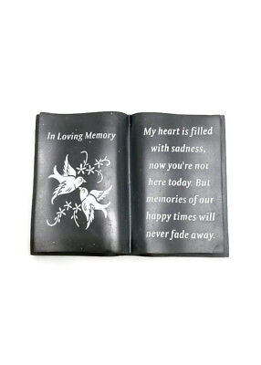 In Loving Memory Slate Grey Memorial Book- Dove & Diamante- Grave Plaque Tribute