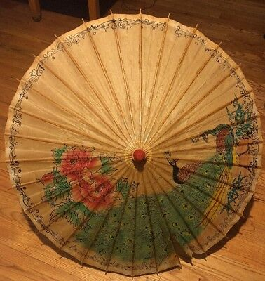 Vintage Paper Umbrella Chinese Parasol Painted Peacocks Decor Asian