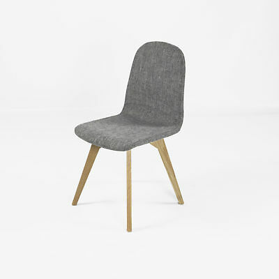 REBOXED Solid Oak Leg Padded Fabric Dining Set Chair with Oak Wood Legs in Grey