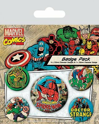 Button Badge 5er Pack MARVEL COMICS RETRO  1x 38mm & 4x 25mm SPIDER-MAN Loki NEU