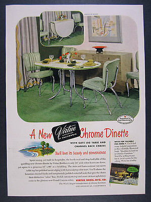 1949 Virtue Brothers Bros Chrome Dinette table chairs photo vintage print Ad