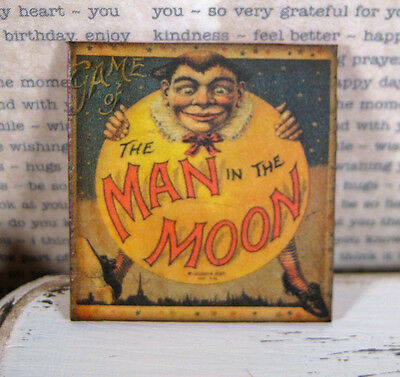 Dollhouse miniature wall art MaN in the MooN Antique board Game Image creepy