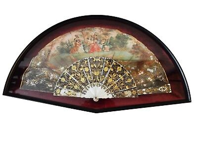 """Superb Antique 19th c French Framed Hand Painted Hand Fan 24.75"""" W"""