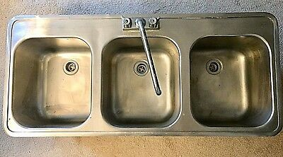Stainless Steel 3 Compartment Industrial/Commercial Sink-used-MINT-plus faucet