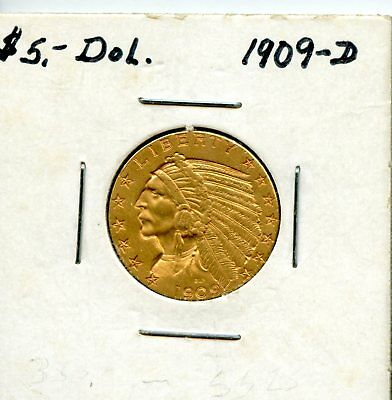 Amazing 1909-D United States Indian Head Half Eagle $5 Gold Coin EJ274
