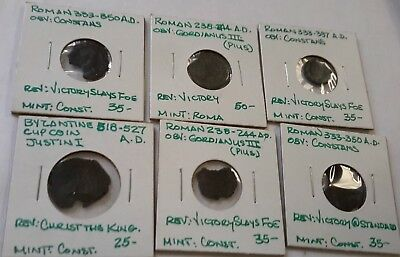 Lot Of 6 Ancient Roman Coins - 262P