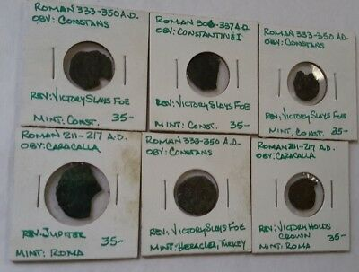 Lot Of 6 Ancient Roman Coins - 264P