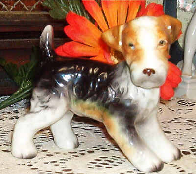 Vintage Wire Fox Terrier  Dog Figurine Statue Hallmark 3 Leaf Clover Japan