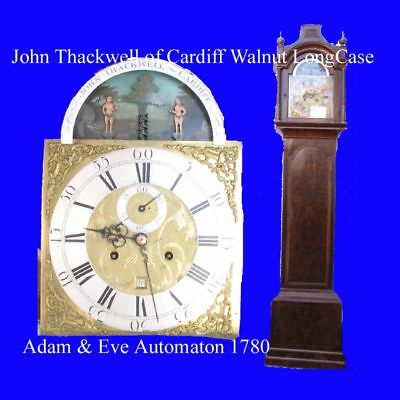 Welsh Musical LongCase Clock John Thackwell of Cardiff Adam & Eve Automaton 1750