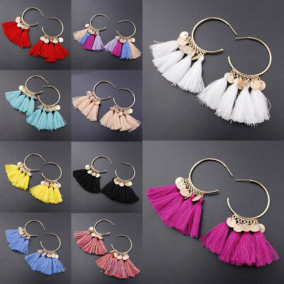 11 Colors Women Elegant National Tassel Earrings Eardrop Party Jewelry Accessory