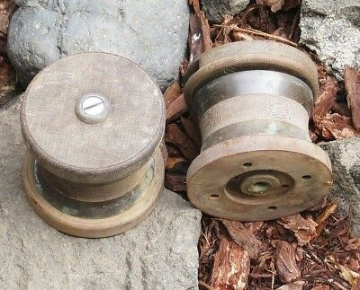 Pair of Antique OLD Vintage Sail Boat Heavy Winches Brass / Heavy Wood 3lbs Each