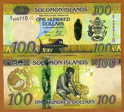 Solomon Islands, $100, ND (2015), Pick New Hybrid Polymer, A/1, Low S/Ns, UNC