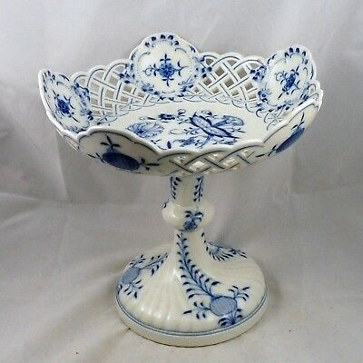 19th Century Meissen Blue Onion Reticulated Compote, Near Mint