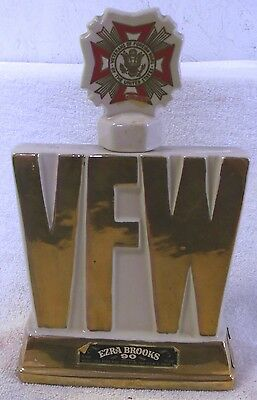 VINTAGE DECANTERS--1974 Ezra Brooks VFW Decanter--24 Karat Gold Heritage--China