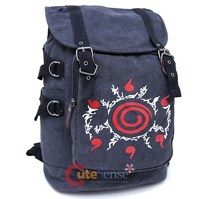"""Naruto Large Backpack Canvas Anime Costume 16"""" Bag Military Sack 9 Tails"""