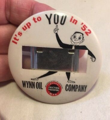 Vintage Wynn Oil 1952 Celluloid Advertising Employee ID Badge Pin Back