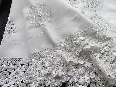Beautiful Antique/Vintage Hand Embroidery-Fine Crochet Lace Tablecloth