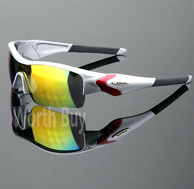 Mens Shield Wrap Around Sports Sunglasses Mirrored Cycling Driving Golf Baseball