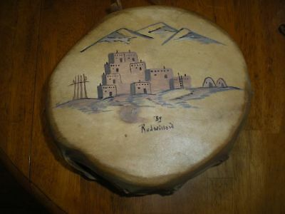 Native American Indian hand drum natural wood and deer rawhide by Redwillow NICE