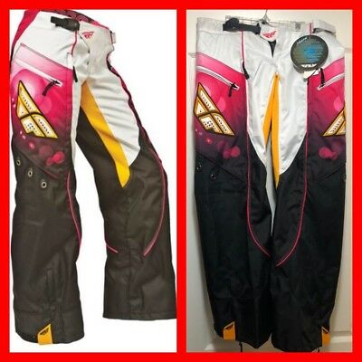 FLY RACING Moto Kinetic Ladies Overboot Pant Pink/White Sz 7/8 NWT
