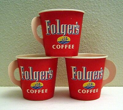 8 Folgers Waxed Reg Coffee Sample Dixie Cups W/ Butterfly Handles Old Stock