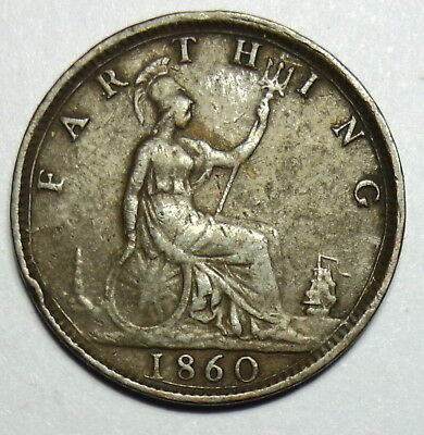 Great Britain :  Farthing 1860. Queen Victoria.