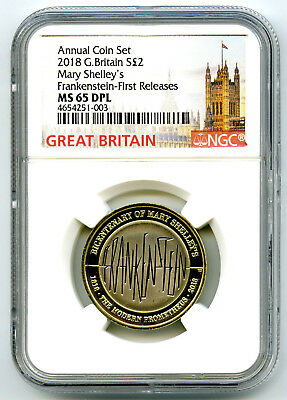 2018 Great Britain 2Pnd Ngc Ms65 Dpl Mary Shelley's Frankenstein Fr Pop Only 2