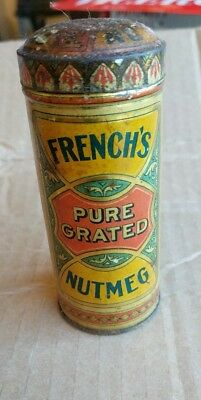 Vintage French's Nutmeg Spice pure grated revera Tin can kitchen decor antique