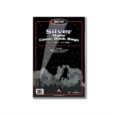 100 BCW Silver Age Comic Book 2 Mil Mylar Archival Bags +Acid Free Backer Boards