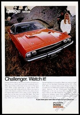 1970 Dodge Challenger R/T RT red car photo 11x8 vintage print ad