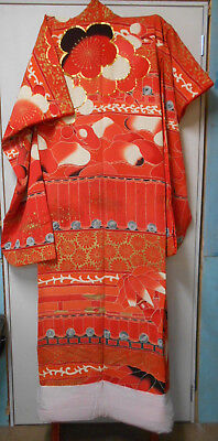 Vintage Japanese WEDDING KIMONO RED SCREENPRINTED BAMBOO FLOWERS BLOSSOM #56