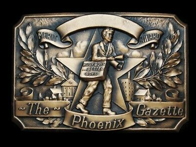 LG05143 VINTAGE 1970s ***THE PHOENIX GAZETTE*** MERIT AWARD SOLID BRASS BUCKLE