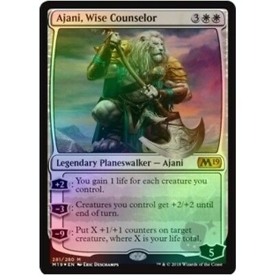*FOIL* AJANI WISE COUNSELOR NM mtg Core 2019 M19 White - Planeswalker Mythic