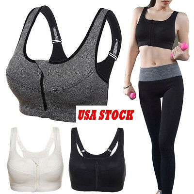 Sports Bra Women/'s High Impact Front Zip Wireless Padded Cup Tank Top Gym Active