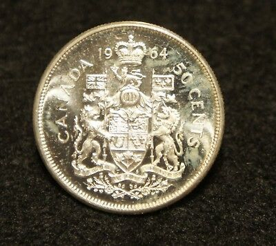 1964 Canadian Silver Half Dollar UNC 80% SILVER  Extremely NICE Coin!