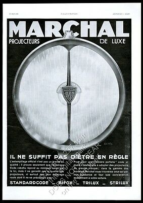 1931 Marchal car parts auto headlight art deco graphic vintage French print ad