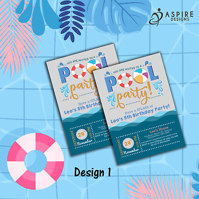 envs H1405 Personalised Pool Party Invitations Water Swimming Kids Birthday x12