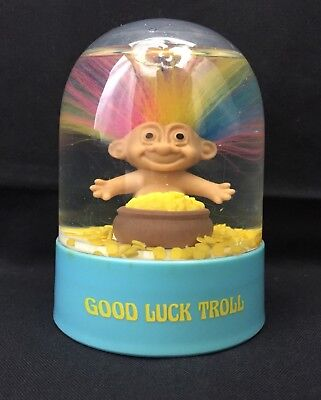 Vintage Russ Rainbow Hair Good Luck Troll snow globe with gold coins