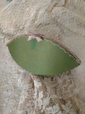 Large Victorian Shaker Sewing Pouch Green Fabric Feather Embroidery Stitch