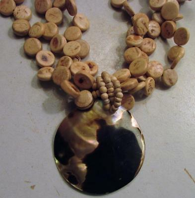 Vintage 60's Chunky Mother of Pearl Wood Bead Bib Pendant Necklace 3 Strand