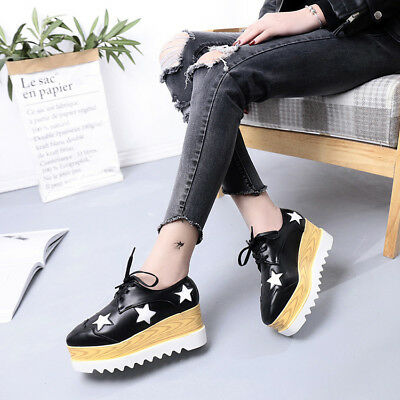 AU Women's Platform Shoes Leather Wedge Sneakers Oxfords Lace Creepers Casual