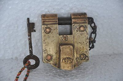 Old Brass Solid Handcrafted BPS Unique Fine Quality Padlock , Rich Patina