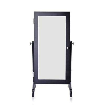 Black Colour MDF Standing Jewellery Cabinet with Mirror Size 60.5x30x20 Cm
