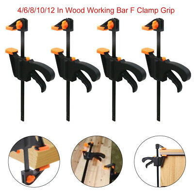 4/6/8/10/12 Inch F Clamp Grip Wood Working Bar Ratchet Release Squeeze DIY Hand