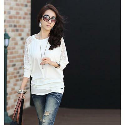 BS Women Batwing Sleeve T-shirts Elegant Hollow Out Lace Floral Loose Blouse