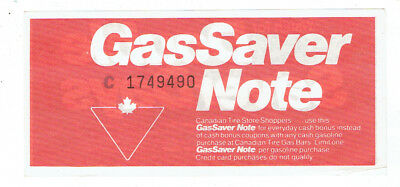Canadian Tire Gas Saver Note