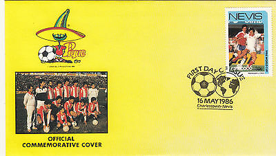 (33054) Nevis FDC - Football World Cup 1986 - Paraguay v Chile