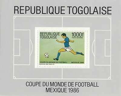 (33387) Togo MNH Football World Cup Mexico 1986 Minisheet U/M Mint